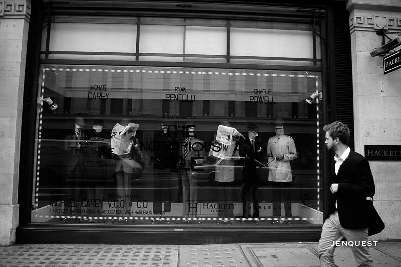 man walking down regent street